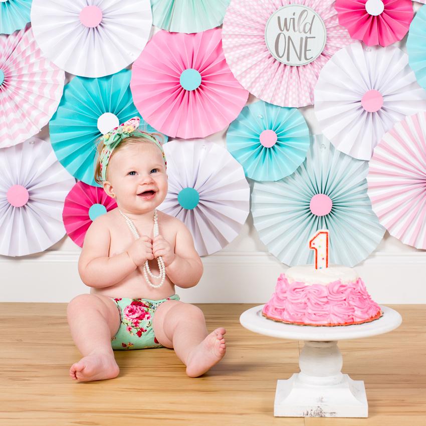 Cassidy 1 year Cake Smash - 40