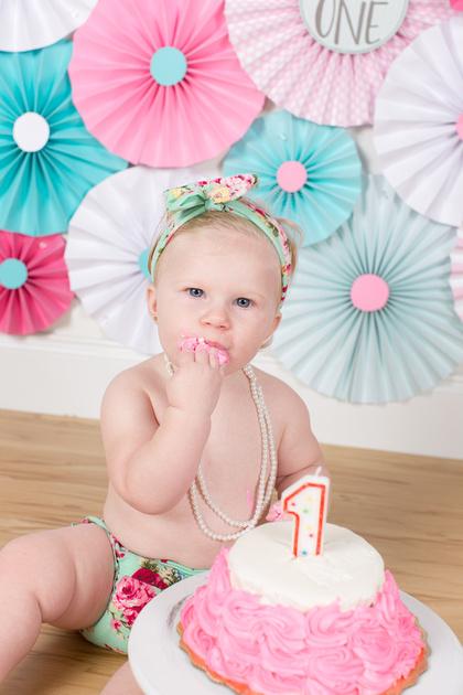 Cassidy 1 year Cake Smash - 50